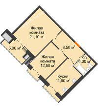2 комнатная квартира 60,5 м², Жилой дом: г. Дзержинск, ул. Кирова, д.12 - планировка