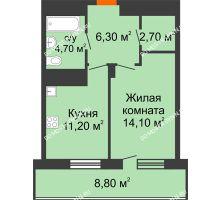 1 комнатная квартира 43,4 м² в ЖК Корица, дом № 1 - планировка