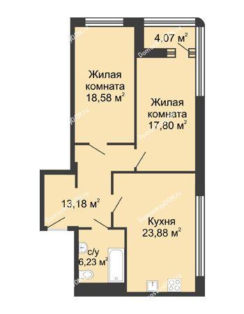 2 комнатная квартира 81,7 м² - ЖК Бристоль