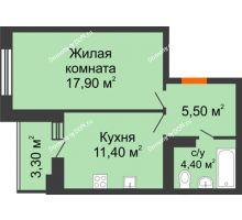 1 комнатная квартира 39,2 м² в ЖК Вересаево, дом Литер 5/1 - планировка