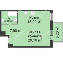 1 комнатная квартира 47,7 м², ЖК Нахичевань - планировка