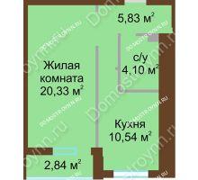 1 комнатная квартира 42,22 м² в ЖК Солнечный, дом № 4