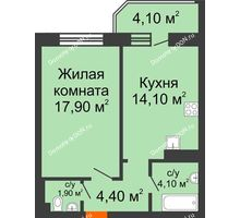 1 комнатная квартира 44,8 м² в ЖК Звездный, дом № 6