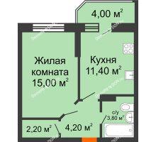 1 комнатная квартира 40,6 м² в ЖК Звездный-2, дом № 4 - планировка
