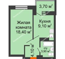 1 комнатная квартира 39,2 м², ЖК Zапад (Запад) - планировка
