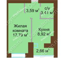 1 комнатная квартира 35,04 м² в ЖК Парк Горького, дом 62/6, № 3