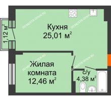 1 комнатная квартира 42,19 м², ЖК Шаляпин - планировка