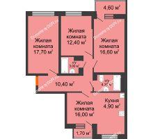 4 комнатная квартира 88,5 м² в ЖК Династия, дом Литер 2 - планировка
