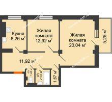 2 комнатная квартира 60,74 м², ЖК Военвед-Парк - планировка