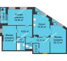 3 комнатная квартира 105,26 м² в ЖК Дом на Провиантской, дом № 12 - планировка