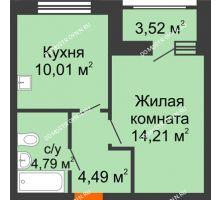 1 комнатная квартира 35,26 м², Жилой дом: ул. Сухопутная - планировка