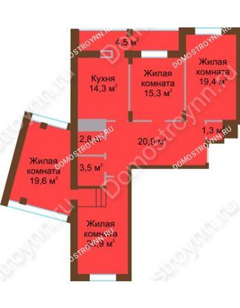 4 комнатная квартира 122,5 м² в ЖК Монолит, дом № 89, корп. 1, 2