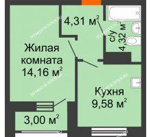 1 комнатная квартира 33,87 м², Жилой дом: ул. Сухопутная - планировка
