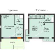 2 комнатный таунхаус 91 м² в Клубный посёлок Панорама, дом Гангутская, 19 (таунхаусы 91м2) - планировка