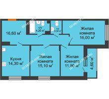 3 комнатная квартира 83 м² в ЖК Цветы 2, дом № 4 - планировка