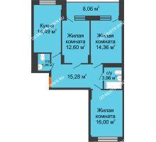 3 комнатная квартира 88,5 м², ЖД Весна - планировка