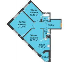 3 комнатная квартира 79,7 м² в ЖК Новая Панорама, дом № 1 - планировка