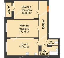 2 комнатная квартира 65,5 м² в Макрорайон Амград, дом №1 - планировка