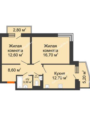 2 комнатная квартира 58,6 м² в ЖК Династия, дом Литер 2