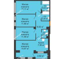 3 комнатная квартира 80,22 м², Клубный дом ГРАН-ПРИ - планировка