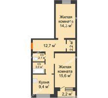 2 комнатная квартира 60,4 м² - ЖК Дом на Нижегородской