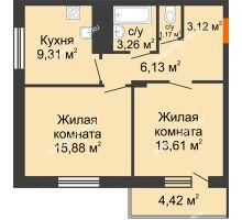 2 комнатная квартира 54,69 м² в ЖК Циолковский, дом № 6 - планировка