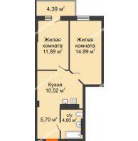 2 комнатная квартира 50,1 м², ЖК Кристалл 2 - планировка