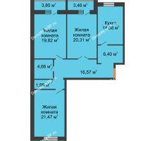 3 комнатная квартира 109,82 м², ЖК Парк Металлургов - планировка