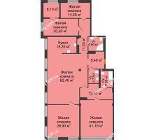 5 комнатная квартира 238,5 м², ЖК Богатяновский - планировка