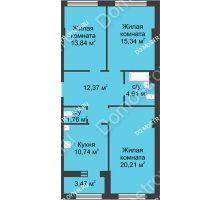 3 комнатная квартира 80,61 м² в ЖК Караваиха, дом № 5 - планировка