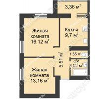 2 комнатная квартира 52,52 м² - ЖК Буревестник