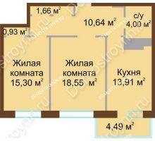 2 комнатная квартира 67,18 м² в ЖК Дворянский, дом № 1 - планировка