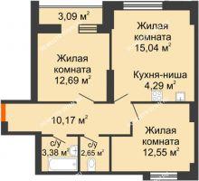 2 комнатная квартира 63,86 м² - ЖК Олимпийский