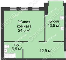 1 комнатная квартира 55,7 м² в ЖК Славянский квартал, дом № 188 - планировка