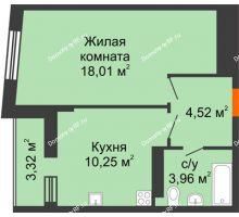 1 комнатная квартира 38,4 м², ЖК Сограт - планировка