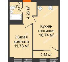 2 комнатная квартира 37,4 м², ЖК Каскад на Менделеева - планировка