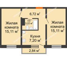 2 комнатная квартира 48,21 м² в ЖК Торпедо, дом № 16 - планировка