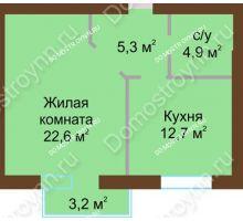 1 комнатная квартира 47,1 м² - Жилой дом: ул. Дворовая д. 30