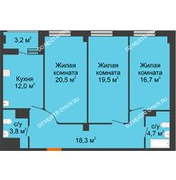 3 комнатная квартира 97,1 м² в ЖК Квартет, дом № 3 - планировка