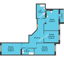 3 комнатная квартира 116,52 м² в ЖК 120 квартал, дом 2 очередь - планировка