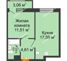 1 комнатная квартира 40,39 м² в ЖК Город времени, дом № 18 - планировка