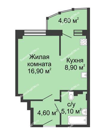1 комнатная квартира 40,1 м² в ЖК Мега, дом № 2