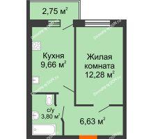 1 комнатная квартира 33,74 м² в ЖК Артемовский квартал, дом Секция 8 - планировка