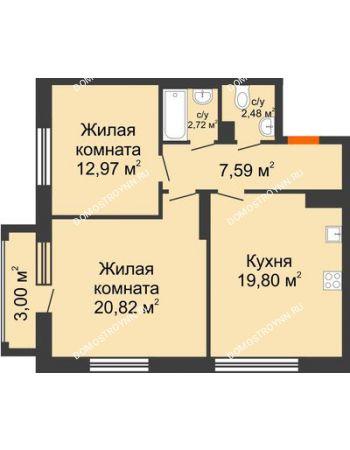 2 комнатная квартира 67,28 м² в ЖК Маленькая страна, дом № 4