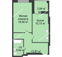 1 комнатная квартира 56,6 м² в ЖК Тихий Дон, дом № 1 - планировка