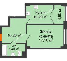 1 комнатная квартира 46,5 м², ЖК Гагарин - планировка