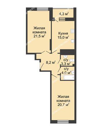 2 комнатная квартира 77,8 м² в ЖК Монолит, дом № 89, корп. 3