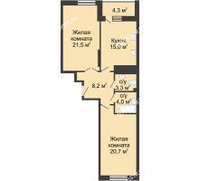 2 комнатная квартира 77,8 м² в ЖК Монолит, дом № 89, корп. 3 - планировка