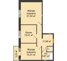 2 комнатная квартира 68,33 м² в ЖК Бограда, дом № 2 - планировка
