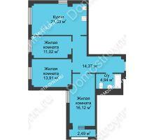 3 комнатная квартира 83,14 м² - Каскад на Сусловой